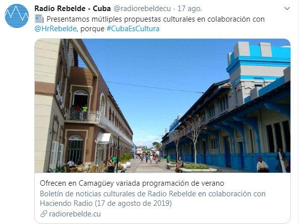 Ejemplo del uso de publicaciones de enlace de la emisora Radio Rebelde en Twitter